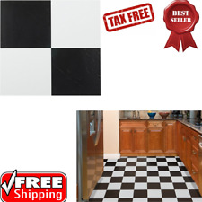 Self  Adhesive Vinyl Floor Tiles with Peel N Stick Solid Black & White 20pcs 12""