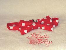 Cotton Mens Bow tie Red Polka dot Christmas Pre tied Handmade Bow tie
