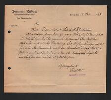 RÜBEN, Brief 1928, Gemeinde Rüben Der Bürgermeister