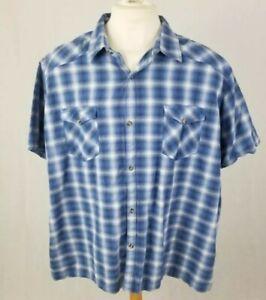 "J Ferrar Men's Short Sleeve Button up Plaid Blue 4XL Shirt 100% Cotton 64"" chest"