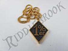 Gold toned Stainless Steel 1%er biker pendant and necklace outlaw bikie chain