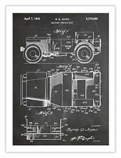 """JEEP MILITARY VEHICLE INVENTION POSTER BLACKBOARD 1942 US PATENT PRINT 18x24"""""""