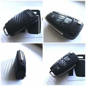 Audi Key Carbon Black Decal Sticker Fob Keyring Overlay A1 A2 A3 A4 A5 A6 TT Q S
