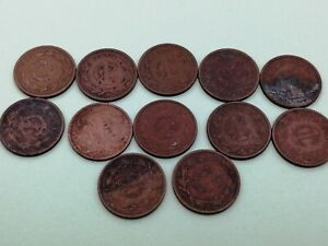 LOT OF 12 MÉXICO CENTAVO COIN 1933 - 1947. A116