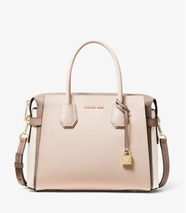 Michael Kors Tri Colored Mercer Belted Satchel Handbag Pebbled Leather New