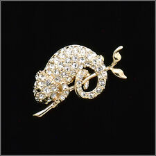 Chameleon Reptile on tree Brooch Pin Costume Jewel Crystal Clear 18k Gold Plated