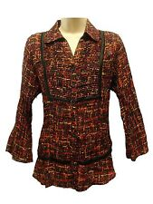 *NWT NY Collectioin Multi Color Button Down 3/4 Sleeve Blouse/Top sz Large-Nice!
