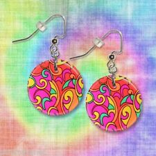 "HIPPIE CHICK  1"" Button Dangle Earrings  FREE PIN  USA Seller"