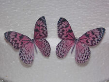 12 PRECUT Pink Edible wafer/rice paper Butterflies cake/cupcake toppers(2)