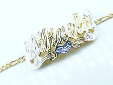 PERSONALIZED 14K  GF BABY 3D DOUBLE PLATE NAME BRACELET