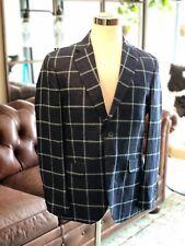 NEW! HACKETT Men's Jacket Silk Linen Blue Windowpane British Blazer 40R $850