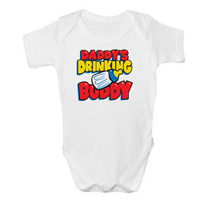 New Funny Daddy's Drinking Baby Vest grow bodysuit cute shower Idea gift design