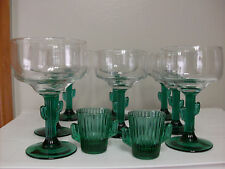 MARGARITA GLASSES SET OF 8 CACTUS STEM GLASS WITH 2 SHOT GLASSES FREE SHIPPING