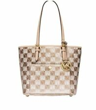 9bb710f15415b4 NWT MICHAEL KORS Jet Set Snap Medium Checkerboard Pocket Tote Gold + Wallet  Set