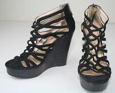 Jean Michel Cazabat Black Suede Platform Zipper Wedge Strappy Sandals Shoes 37 7