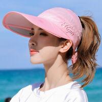 Summer Women Wide Brim Hat Cap Sun Visor Anti-UV Protection Outdoor