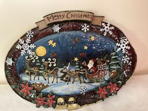 Metal Plate Sign Merry Christmas Xmas 34 x 25 cm Hanging Decoration Bells Hook