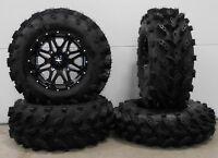 """MSA Black Vibe 14"""" ATV Wheels 28"""" Swamp Lite Tires Sportsman RZR Ranger"""