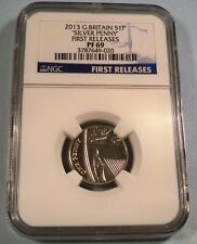 """2013 GREAT BRITAIN NGC PF69 """" SILVER PENNY """" S1P SILVER ONE PENCE PROOF"""