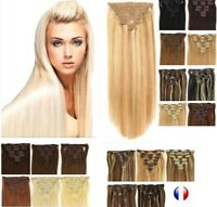 Extensions A Clips Cheveux 100%  Remy Lisses Naturel 85g 125g 60cm 49cm 24/48H