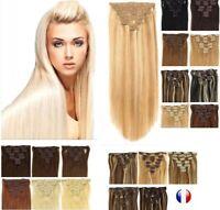 Extension A Clips Cheveux 100% naturels Remy Lisses l 60cm 49cm 85g 125g 24/48H