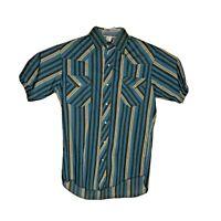 BJ-R Western Plaid Pearl Snap Shirt Short Sleeve Mens Sz Medium