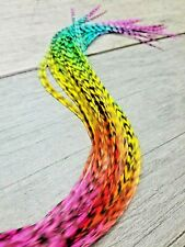 feather hair extensions X long RAINBOW Tie Dye Grizzly Eurohackle beads AAA