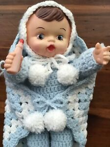"""Baby Doll with Bottle and Blanket 15"""" LOVEABLE Handmade Crocheted"""