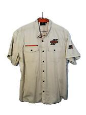 Harley Davidson Men's Button Down Shirt 2XL XXL Beige Shirt Sleeve