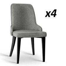 4x Dining Chair Domus Linen Fabric Retro Vintage Steel Legs Grey Black FIRM legs
