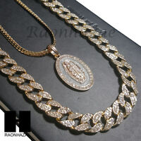 "Mens 14k Gold PT Guadalupe 15mm Miami Cuban 30"" Iced Out Chain Necklace S16"