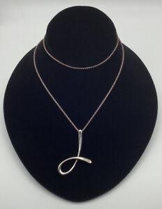 Tiffany & Co Elsa Peretti Sterling Silver 925 1983 J Initial Pendant Necklace
