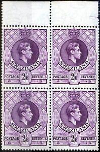 Swaziland 1947 2s6d Reddish Violet SG36b V.F MNH Block of 4