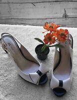 Women's Anne Klein High Heel Shoes Black White Bow Peep Toe Sling Back Size 7M