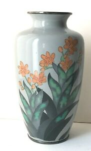 "7"" Japanese Cloisonné Enameled INABA Gray Elegant Vase Silver Rim"