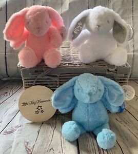 PERSONALISED BABY RABBIT SOFT TOY BUNNY GIFT NEW EMBROIDERED WHITE PINK BLIE