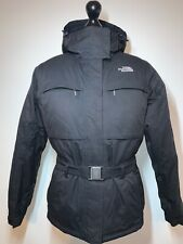 The North Face Goose Down Hyvent Ladies Hooded Belt Coat Jacket Black Small VGC