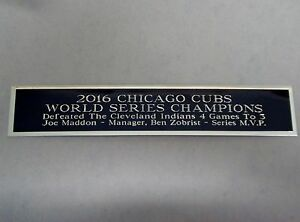 Chicago Cubs 2016 World Series Nameplate For A Signed Baseball Jersey Case 1.5x6