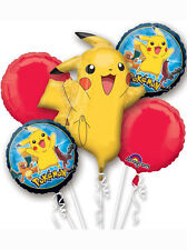 5 X Pokemon Pikachu Stagnola Pallone Bouquet Display Festa Di Compleanno Decorazione