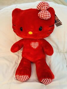 "BUILD A BEAR~RED HELLO KITTY 17"" NWT  LIMITED EDITION LOVE HEARTS VALENTINE"