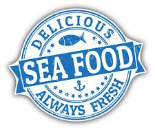 "Always Fresh Sea Food Grunge Rubber Stamp Car Bumper Sticker Decal 5"" x 4"""