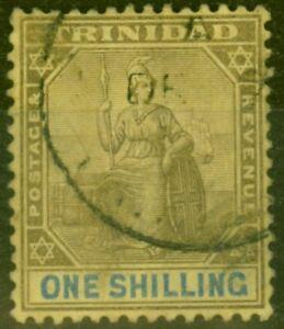 Trinidad 1904 1s Black & Blue-Yellow SG141 Good Used