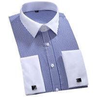 Mens Casual Luxury Stylish Striped Long Sleeves French Cuff Dress Shirts HC6340