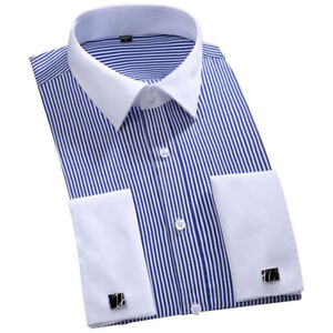 Mens Casual French Cuff  Striped Long Sleeves Dress Shirts White Collar Shirts
