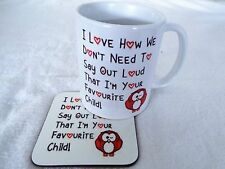 Red Owl I Love How We Don't Have To Say Out Loud mug and coaster 11oz ceramic