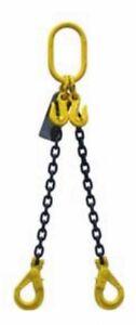NEW industrial lifting equipment 8mm G80 2 LEG CHAIN SLING X 1 METRE