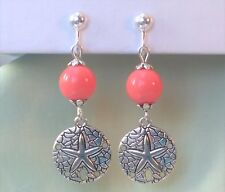 "On Earrings 2.3"" South Sea \ Sand Dollar Pink Coral Enamel Clip"