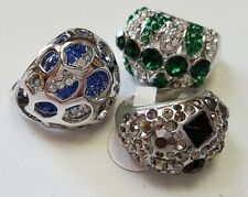 LOT 3 Pretty SILVER FASHION RINGS Blue Green White Crystals NEW Lady Girl SIZE 6