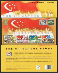 Singapore 857 sheet in present pack,MNH. History of Independence,1998.Flags.