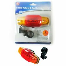 5 Led Yellow Red Light Blinker Flasher Bike Bicycle Safety Night Road Reflector